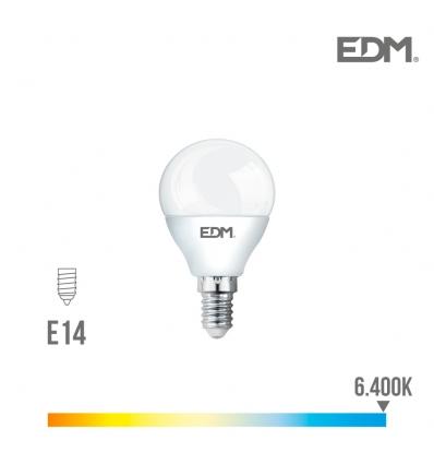 BOMBILLA LED ESFERICA 7W 230V E-14 LUZ FRIA EDM